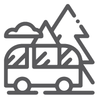 Icon of van traveling in front of trees