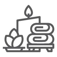 Icon of candle, flower, and towels
