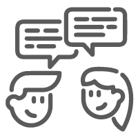 icon of feamle and male talking with comment bubble above their heads