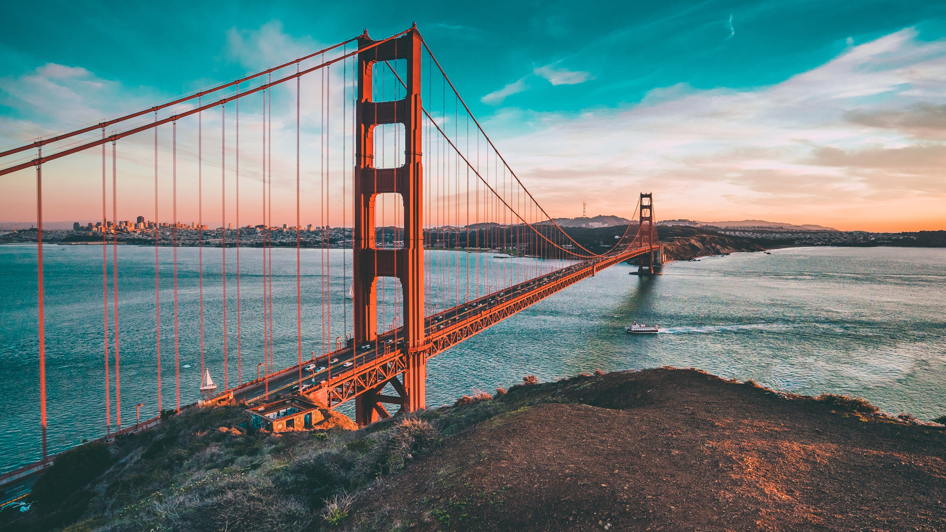 Cliff view of the Golden Gate Bridge in San Francisco, California, a popular tourist attraction