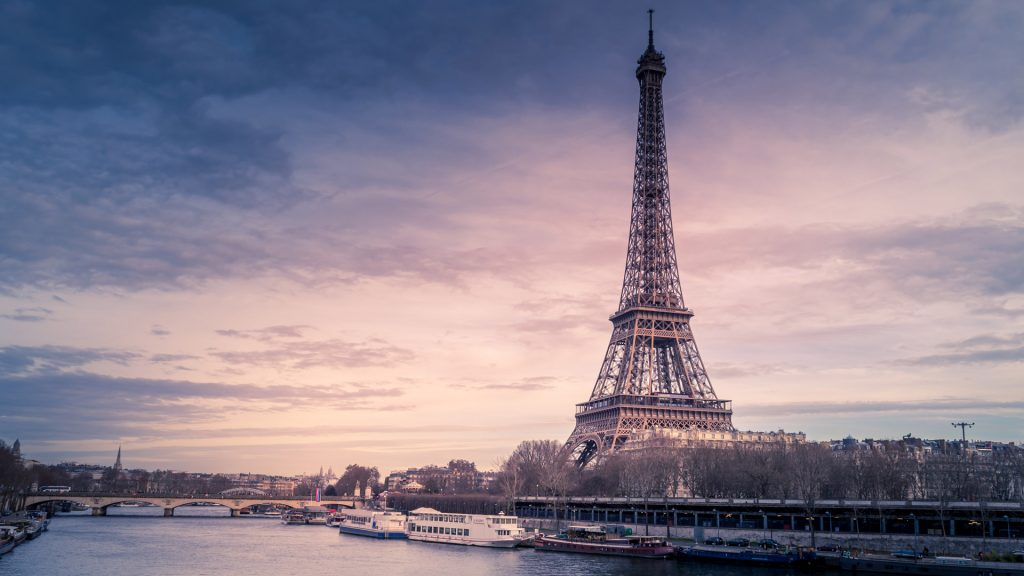 Eiffel Tower in Paris in the evening time
